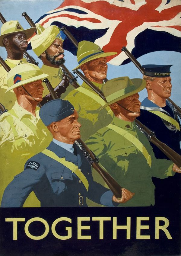 Together. Unity of Strength British Empire Servicemen (India Propaganda) World War 2 Military Print/Poster. Sizes: A4/A3/A2/A1 (003111)